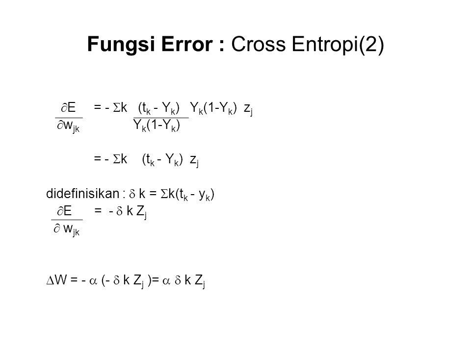 Fungsi Error : Cross Entropi(2)  E = -  k (t k - Y k ) Y k (1-Y k ) z j  w jk Y k (1-Y k ) = -  k (t k - Y k ) z j didefinisikan :  k =  k(t k - y k )  E = -  k Z j  w jk  W = -  (-  k Z j )=   k Z j