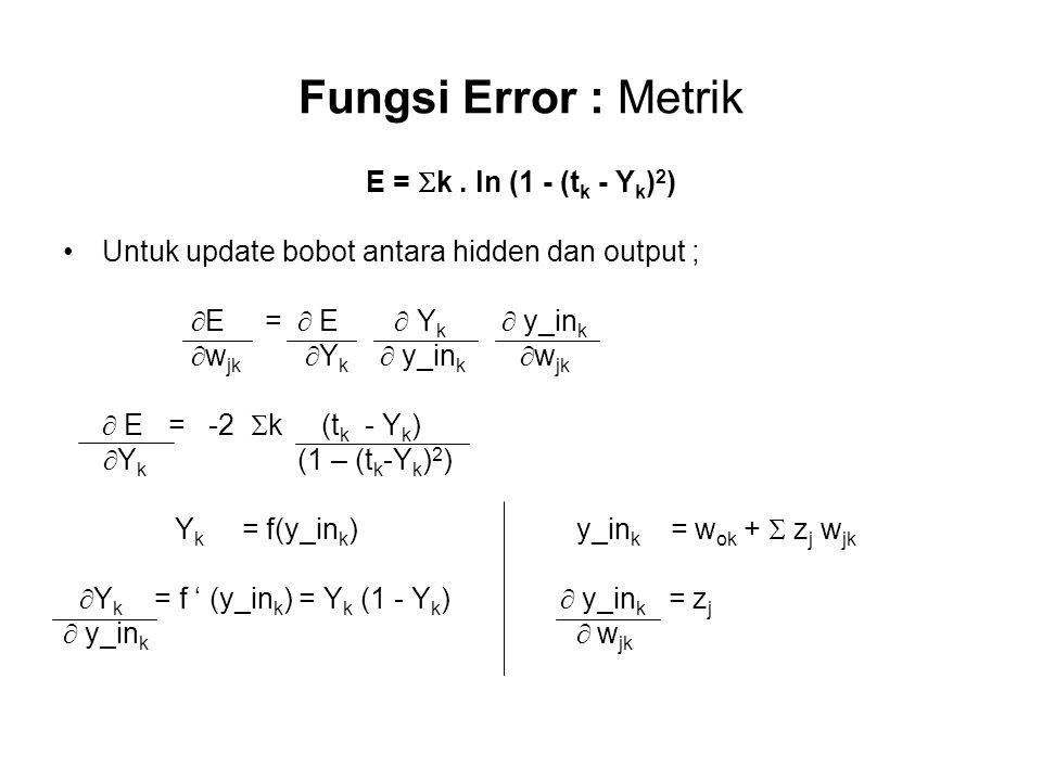 Fungsi Error : Metrik E =  k.
