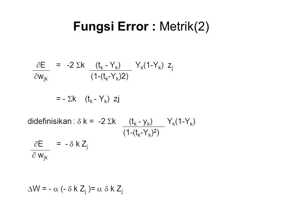 Fungsi Error : Metrik(2)  E = -2  k (t k - Y k ) Y k (1-Y k ) z j  w jk (1-(t k -Y k )2) = -  k (t k - Y k ) zj didefinisikan :  k = -2  k (t k - y k ) Y k (1-Y k ) (1-(t k -Y k ) 2 )  E = -  k Z j  w jk  W = -  (-  k Z j )=   k Z j