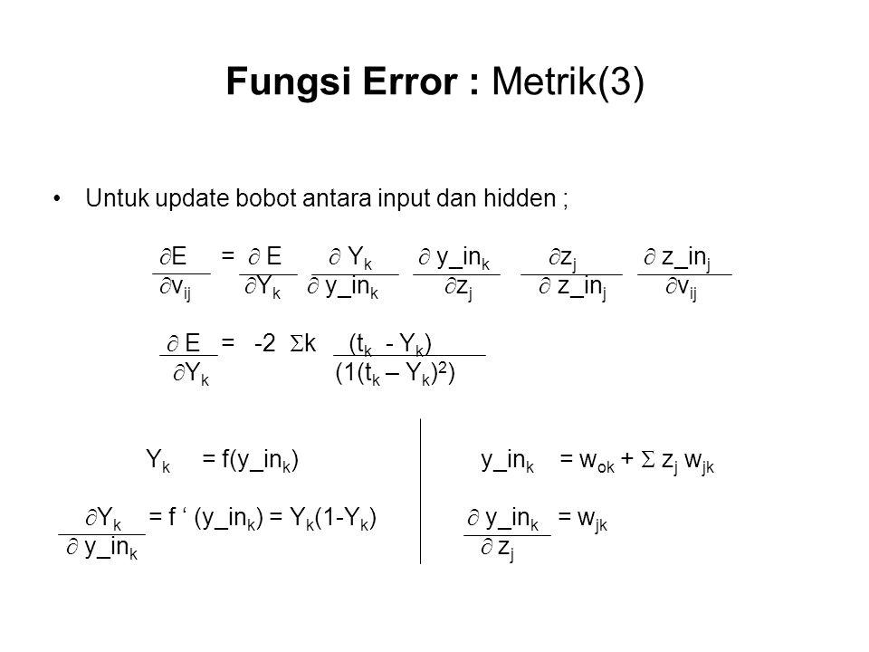 Fungsi Error : Metrik(3) Untuk update bobot antara input dan hidden ;  E =  E  Y k  y_in k  z j  z_in j  v ij  Y k  y_in k  z j  z_in j  v ij  E = -2  k (t k - Y k )  Y k (1(t k – Y k ) 2 ) Y k = f(y_in k ) y_in k = w ok +  z j w jk  Y k = f ' (y_in k ) = Y k (1-Y k )  y_in k = w jk  y_in k  z j