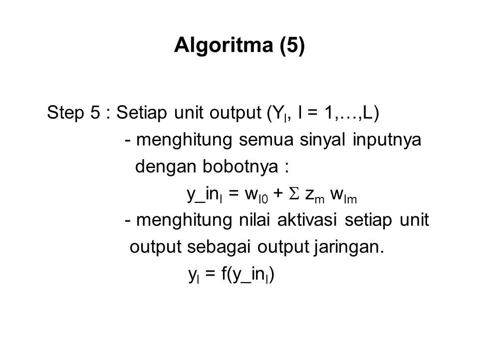 Algoritma (5) Step 5 : Setiap unit output (Y l, l = 1,…,L) - menghitung semua sinyal inputnya dengan bobotnya : y_in l = w l0 +  z m w lm - menghitung nilai aktivasi setiap unit output sebagai output jaringan.