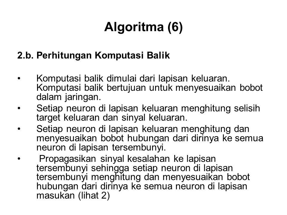 Algoritma (6) 2.b.Perhitungan Komputasi Balik Komputasi balik dimulai dari lapisan keluaran.