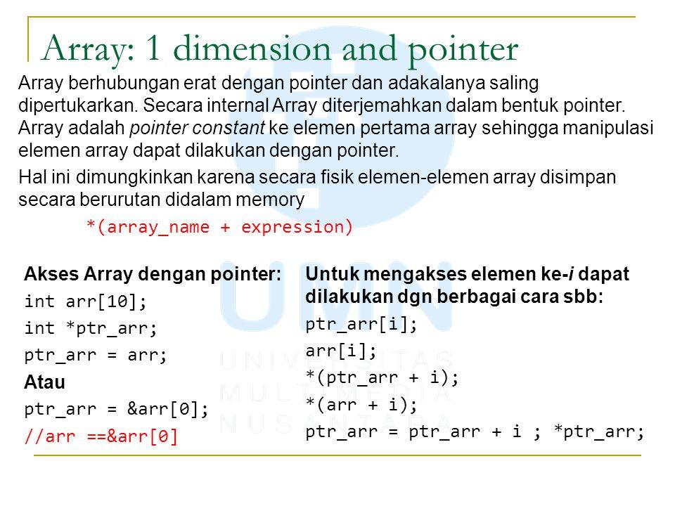 Array: 1 dimension and pointer Array berhubungan erat dengan pointer dan adakalanya saling dipertukarkan. Secara internal Array diterjemahkan dalam be