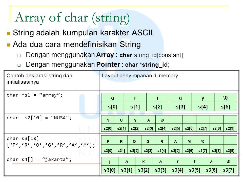 Array of char (string) String adalah kumpulan karakter ASCII. Ada dua cara mendefinisikan String  Dengan menggunakan Array : char string_id[constant]