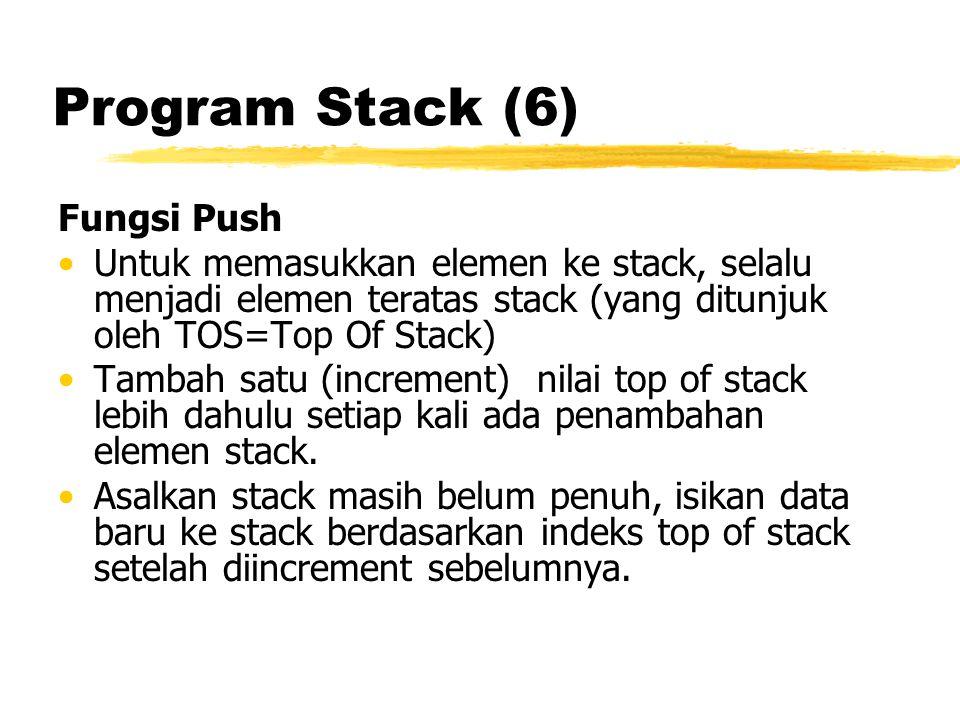 Program Stack (6) Fungsi Push Untuk memasukkan elemen ke stack, selalu menjadi elemen teratas stack (yang ditunjuk oleh TOS=Top Of Stack) Tambah satu