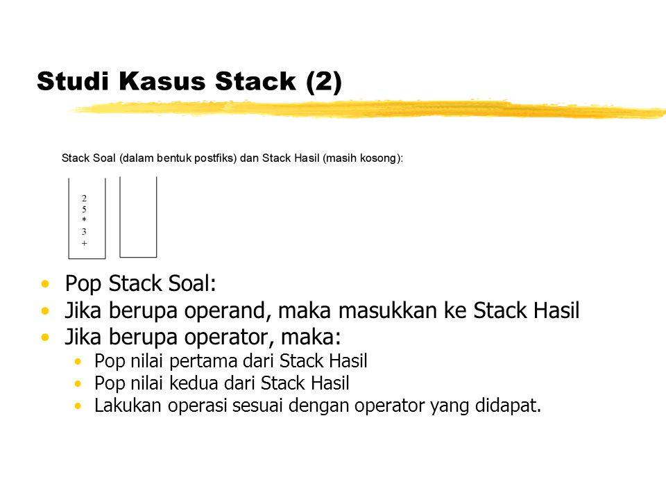 Studi Kasus Stack (2) Pop Stack Soal: Jika berupa operand, maka masukkan ke Stack Hasil Jika berupa operator, maka: Pop nilai pertama dari Stack Hasil