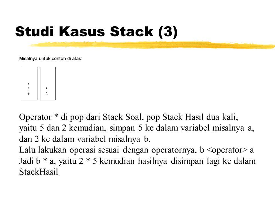 Studi Kasus Stack (3) Operator * di pop dari Stack Soal, pop Stack Hasil dua kali, yaitu 5 dan 2 kemudian, simpan 5 ke dalam variabel misalnya a, dan
