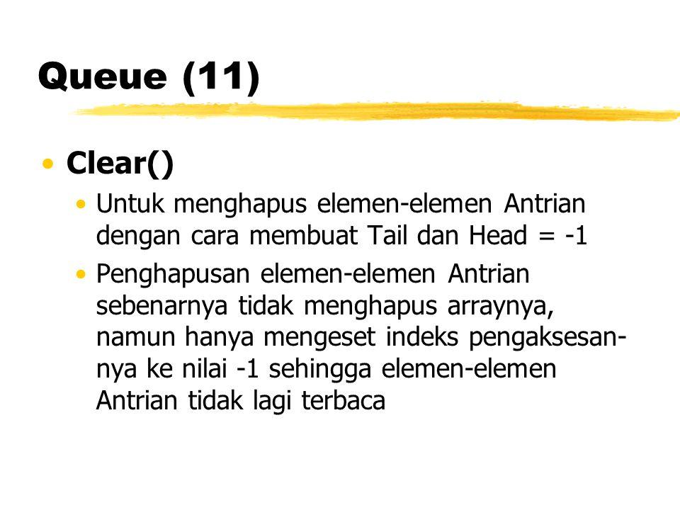 Queue (11) Clear() Untuk menghapus elemen-elemen Antrian dengan cara membuat Tail dan Head = -1 Penghapusan elemen-elemen Antrian sebenarnya tidak men