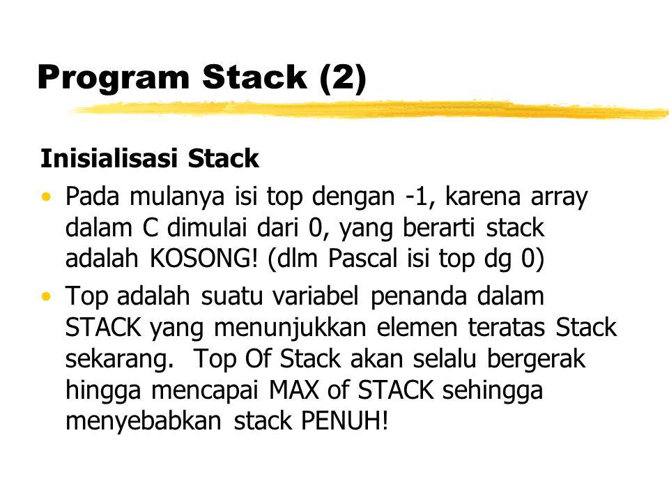 Program Stack (2) Inisialisasi Stack Pada mulanya isi top dengan -1, karena array dalam C dimulai dari 0, yang berarti stack adalah KOSONG! (dlm Pasca