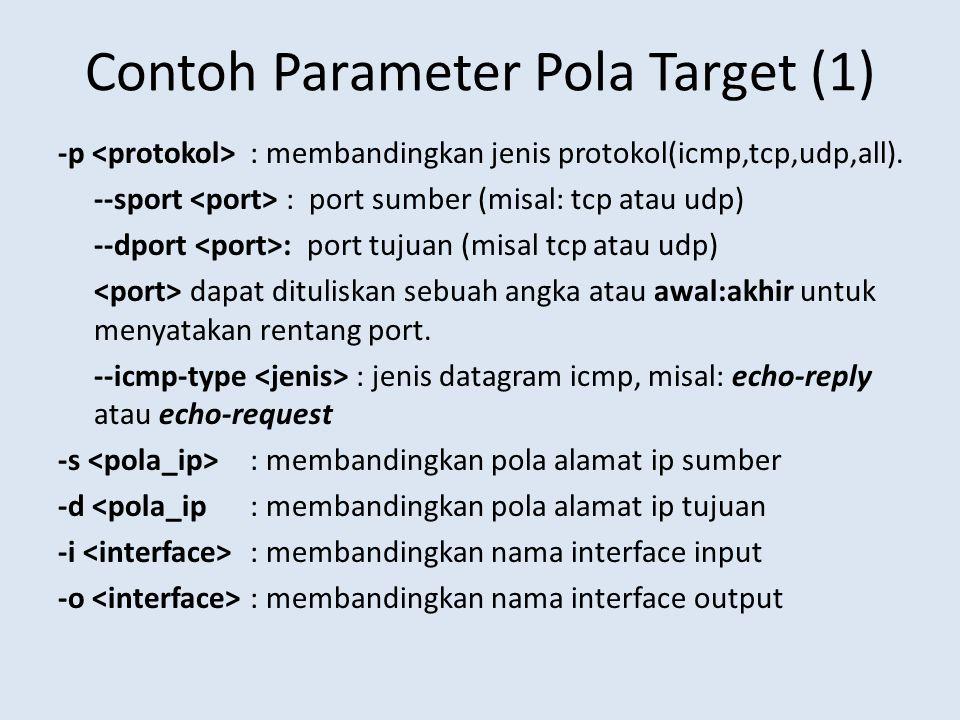 Contoh Parameter Pola Target (1) -p : membandingkan jenis protokol(icmp,tcp,udp,all).
