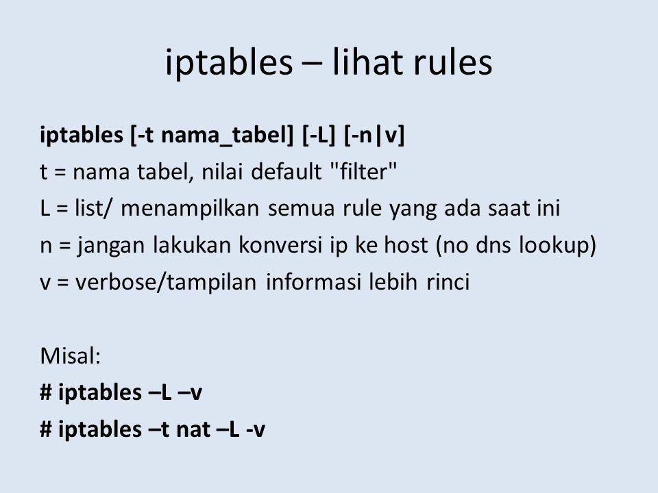 iptables – lihat rules iptables [-t nama_tabel] [-L] [-n|v] t = nama tabel, nilai default filter L = list/ menampilkan semua rule yang ada saat ini n = jangan lakukan konversi ip ke host (no dns lookup) v = verbose/tampilan informasi lebih rinci Misal: # iptables –L –v # iptables –t nat –L -v