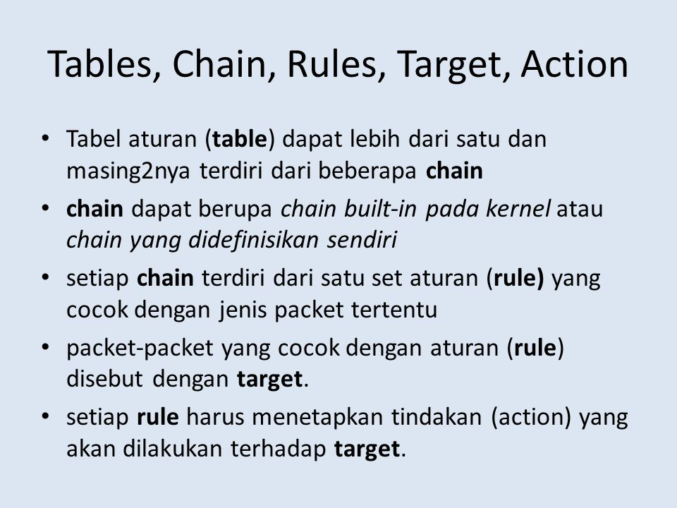 Tables, Chain, Rules, Target, Action