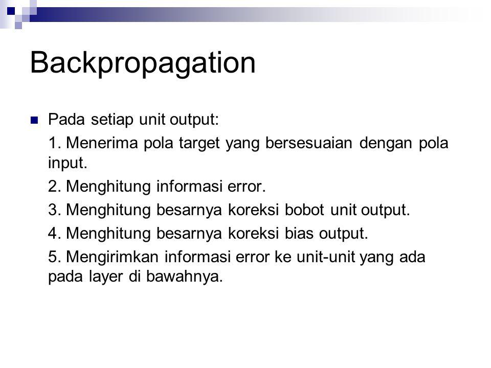 Backpropagation Pada setiap unit output: 1. Menerima pola target yang bersesuaian dengan pola input. 2. Menghitung informasi error. 3. Menghitung besa