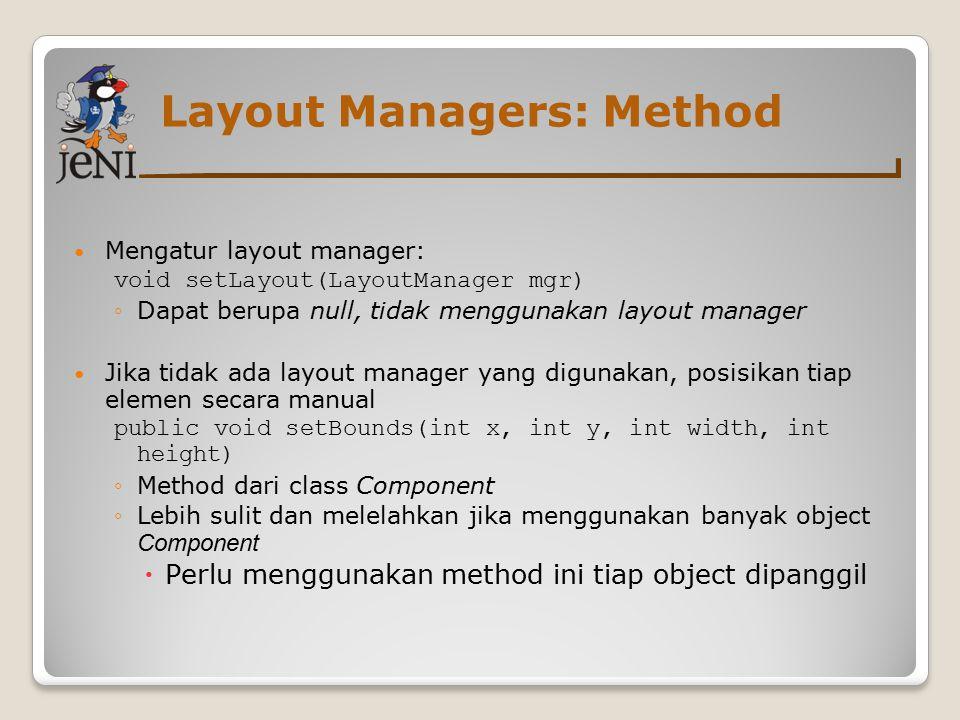 Layout Managers: Method Mengatur layout manager: void setLayout(LayoutManager mgr) ◦Dapat berupa null, tidak menggunakan layout manager Jika tidak ada