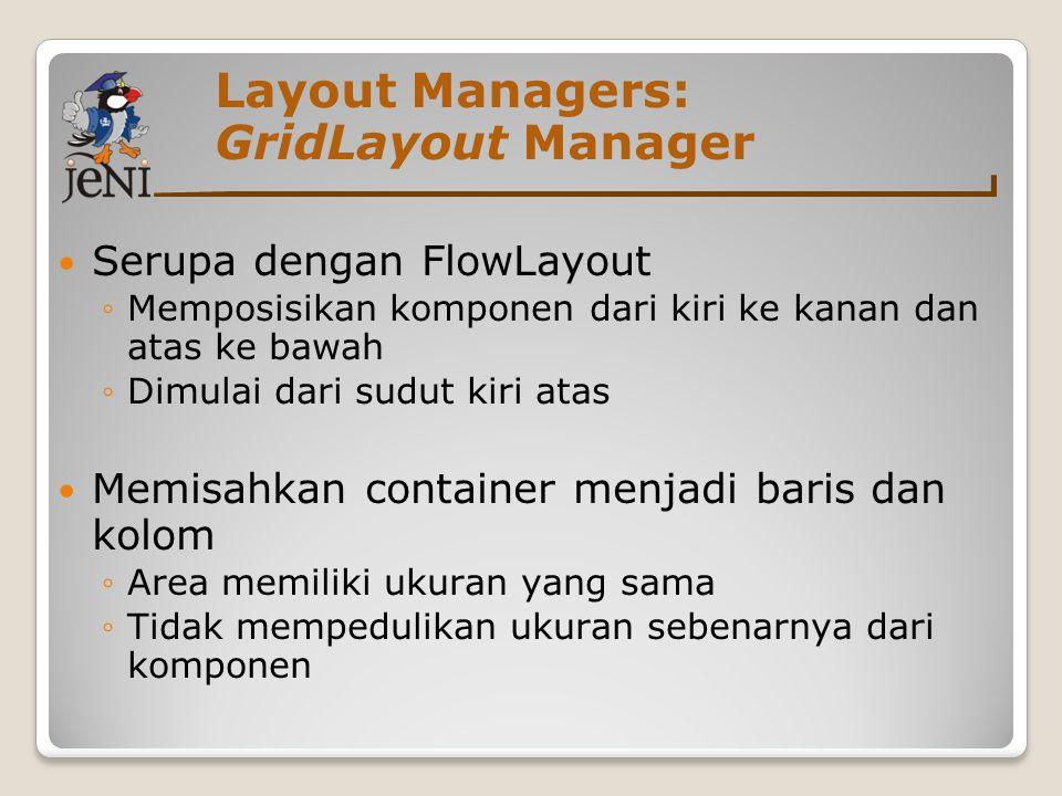 Layout Managers: GridLayout Manager Serupa dengan FlowLayout ◦Memposisikan komponen dari kiri ke kanan dan atas ke bawah ◦Dimulai dari sudut kiri atas