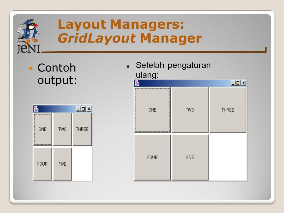 Layout Managers: GridLayout Manager Contoh output: Setelah pengaturan ulang:
