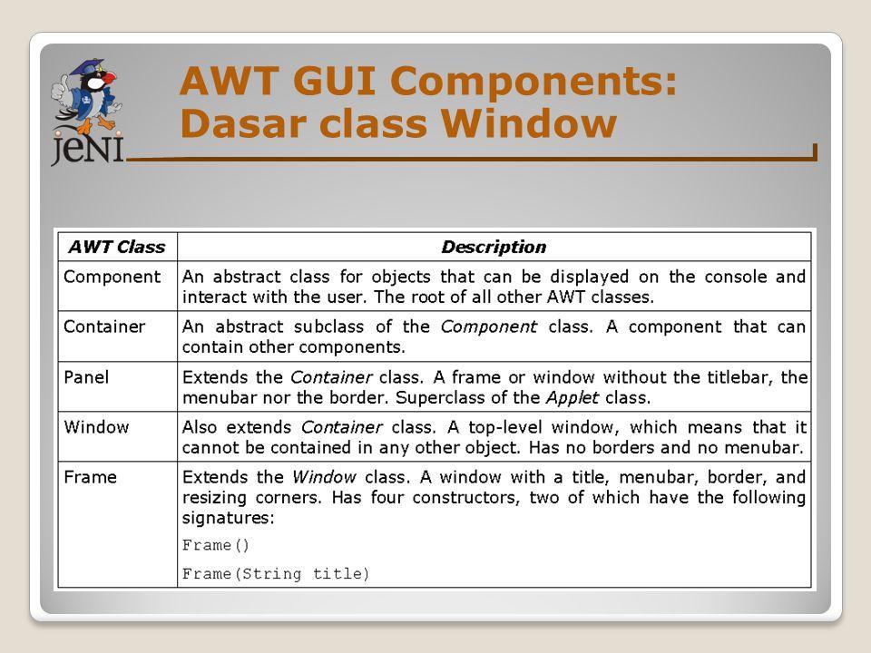 AWT GUI Components: Method dari class Window Class Mengatur ukuran window : void setSize(int width, int height) void setSize(Dimension d) ◦Dimension d memiliki width dan height seperti pada fields Sebuah window secara default statusnya adalah not visible.