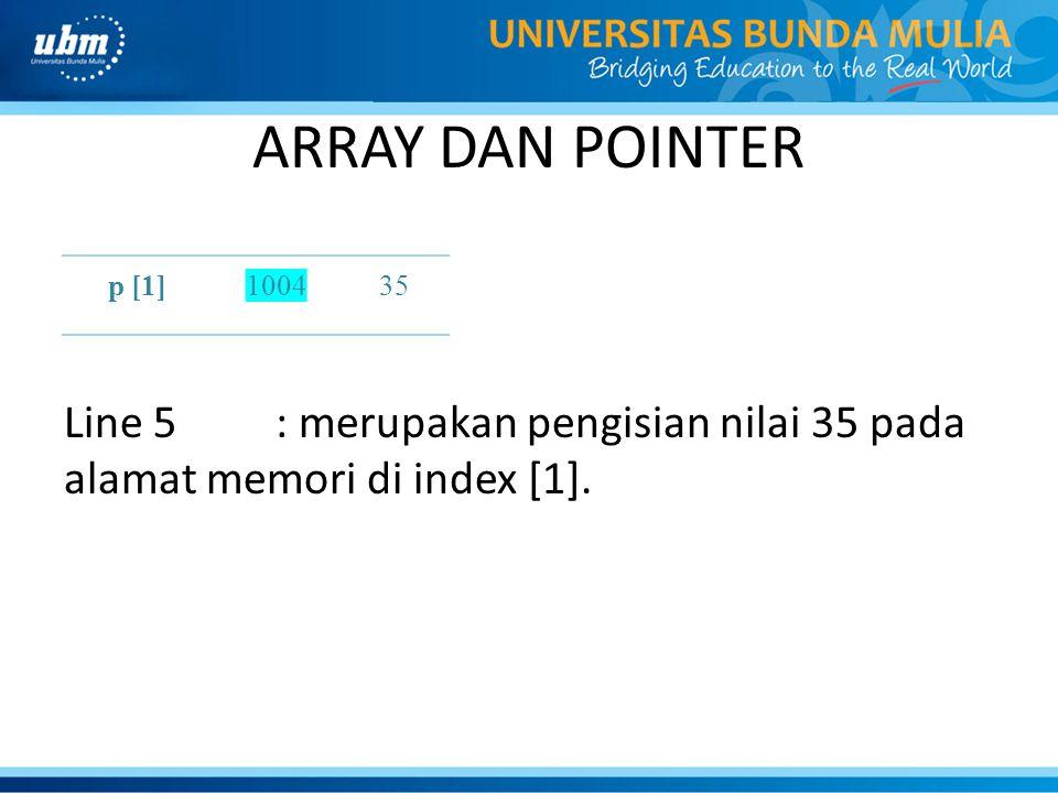 ARRAY DAN POINTER Line 5: merupakan pengisian nilai 35 pada alamat memori di index [1]. p [1]100435