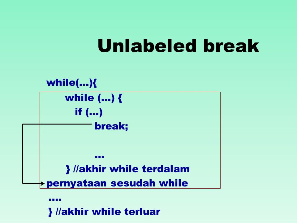 Unlabeled break while(…){ if (…) break; … } //akhir while terdalam pernyataan sesudah while ….