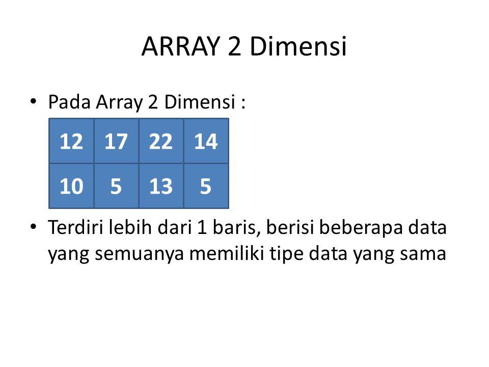 ARRAY 2 Dimensi Pada Array 2 Dimensi : Terdiri lebih dari 1 baris, berisi beberapa data yang semuanya memiliki tipe data yang sama 12172214 105135
