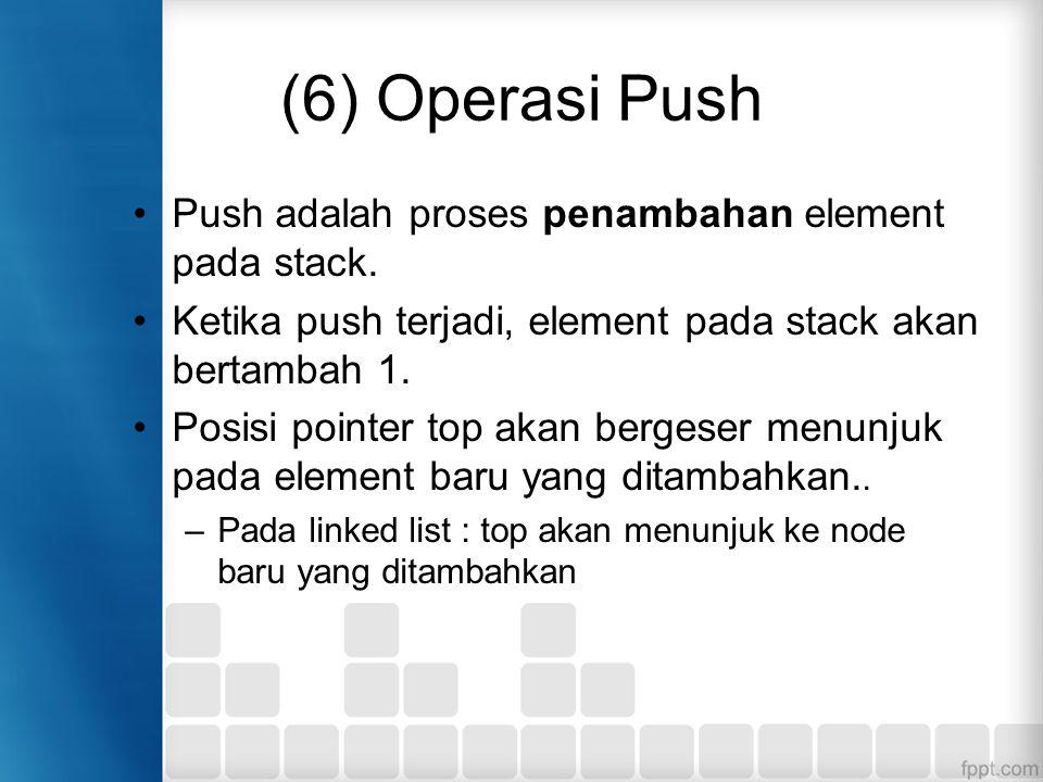 (6) Operasi Push Push adalah proses penambahan element pada stack. Ketika push terjadi, element pada stack akan bertambah 1. Posisi pointer top akan b