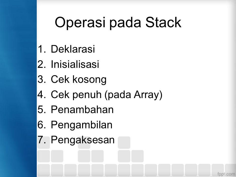 Operasi pada Stack 1.Deklarasi 2.Inisialisasi 3.Cek kosong 4.Cek penuh (pada Array) 5.Penambahan 6.Pengambilan 7.Pengaksesan