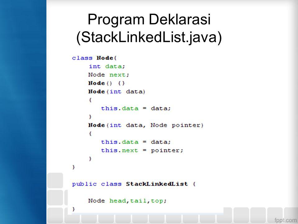 (2) Inisialisasi Pada Linked List: Proses inisialisasi dilakukan dengan memberikan nilai awal pada variabel head, tail dan top dengan nilai null.