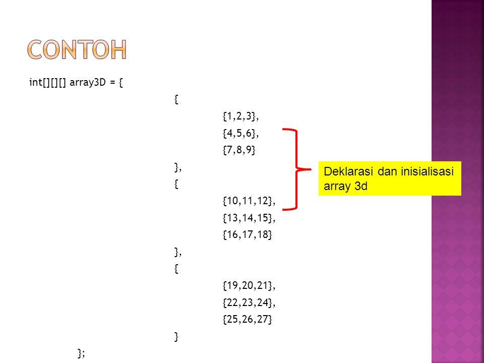 int[][][] array3D = { { {1,2,3}, {4,5,6}, {7,8,9} }, { {10,11,12}, {13,14,15}, {16,17,18} }, { {19,20,21}, {22,23,24}, {25,26,27} } }; Deklarasi dan i