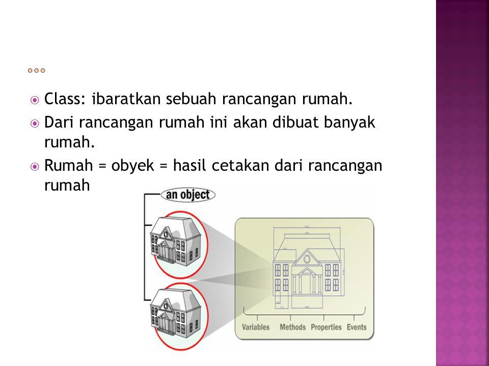  Class: ibaratkan sebuah rancangan rumah.  Dari rancangan rumah ini akan dibuat banyak rumah.  Rumah = obyek = hasil cetakan dari rancangan rumah