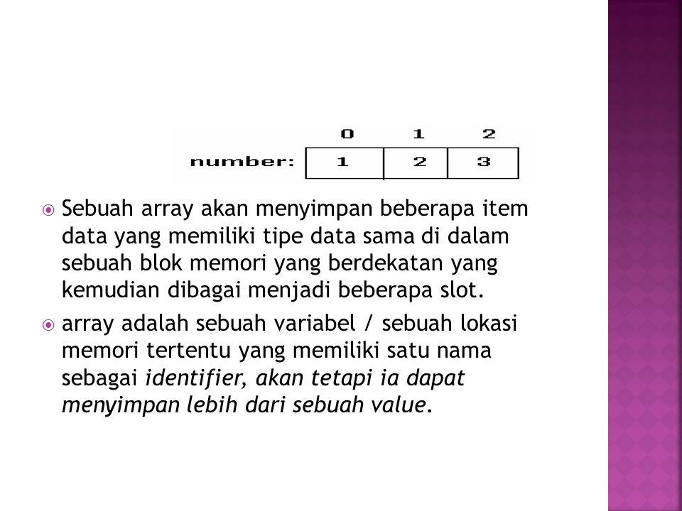  Tiap variabel di dalam array disebut elemen, di mana tiap elemen memiliki indeks dengan tipe integer.