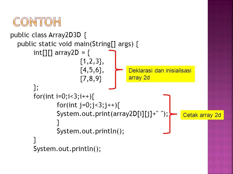 int[][][] array3D = { { {1,2,3}, {4,5,6}, {7,8,9} }, { {10,11,12}, {13,14,15}, {16,17,18} }, { {19,20,21}, {22,23,24}, {25,26,27} } }; Deklarasi dan inisialisasi array 3d