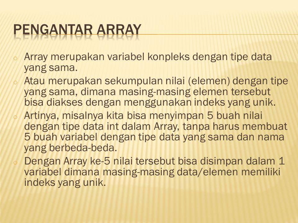  Gambar dibawah ini mengilustrasikan variabel array dengan nama Bilangan, yang di dalamnya bisa menyimpan 5 buah nilai data, dan masing-masing nilai bertipe data int.