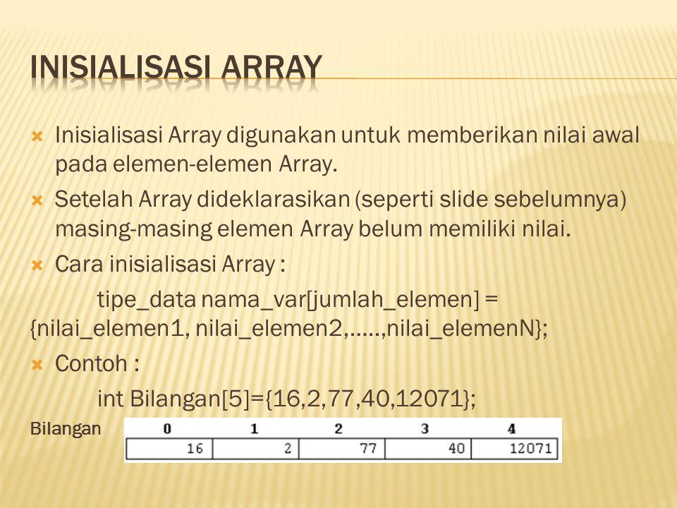  Untuk mengakses nilai suatu elemen Array (memberikan nilai ke elemen Array atau mengambil nilai dari suatu elemen Array), bisa dilakukan dengan menggunakan nama variable array disertai dengan indeks aray.