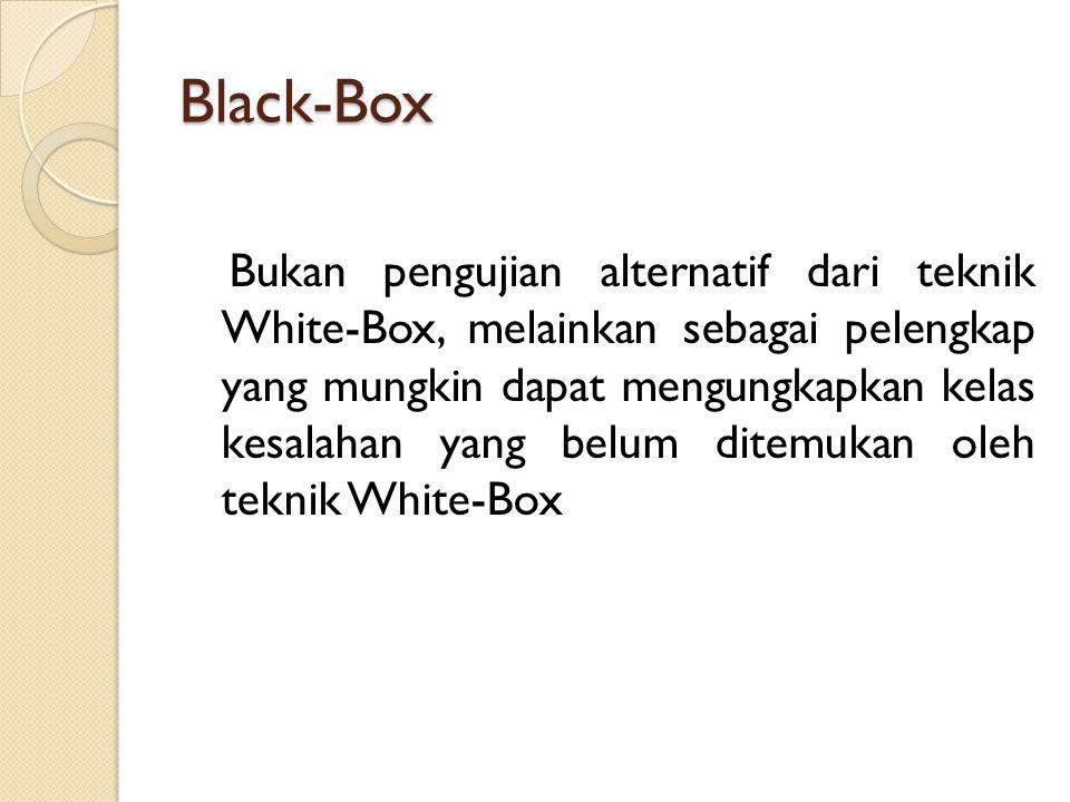 Black-Box Bukan pengujian alternatif dari teknik White-Box, melainkan sebagai pelengkap yang mungkin dapat mengungkapkan kelas kesalahan yang belum di