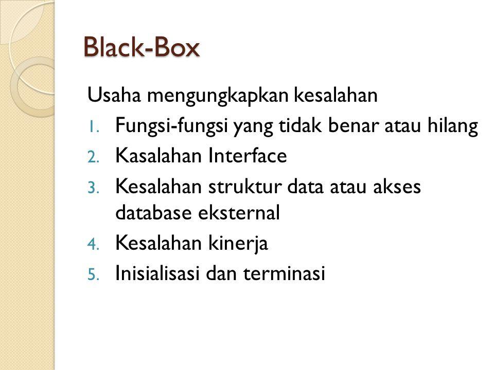 Black-Box Usaha mengungkapkan kesalahan 1. Fungsi-fungsi yang tidak benar atau hilang 2. Kasalahan Interface 3. Kesalahan struktur data atau akses dat