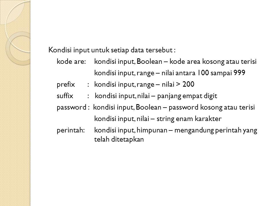 Kondisi input untuk setiap data tersebut : kode are: kondisi input, Boolean – kode area kosong atau terisi kondisi input, range – nilai antara 100 sam