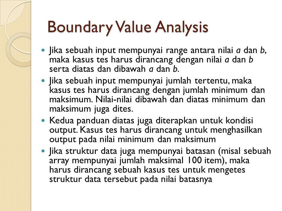 Boundary Value Analysis Jika sebuah input mempunyai range antara nilai a dan b, maka kasus tes harus dirancang dengan nilai a dan b serta diatas dan d