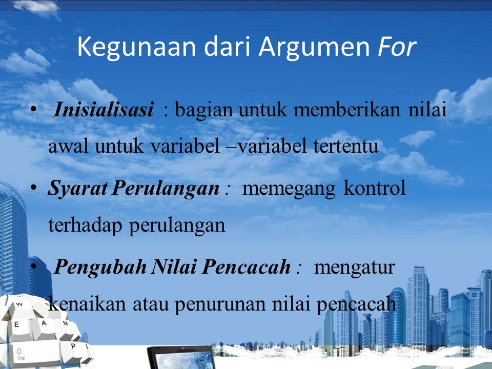 Pernyataan FOR perulangan yang pertama adalah for bentuk umum pernyataan for adalah : For ( inisialisasi; syarat pengulangan;pengubah nilai pencacah )