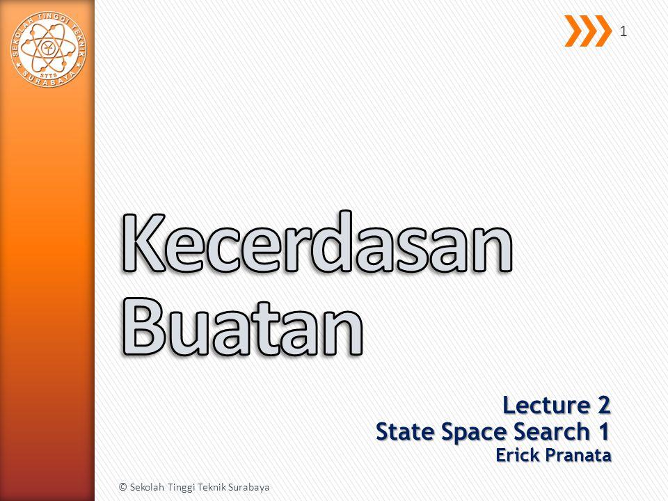Lecture 2 State Space Search 1 Erick Pranata © Sekolah Tinggi Teknik Surabaya 1