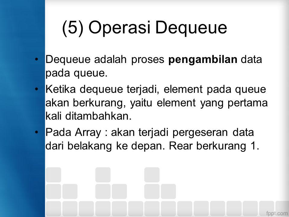 (5) Operasi Dequeue Dequeue adalah proses pengambilan data pada queue. Ketika dequeue terjadi, element pada queue akan berkurang, yaitu element yang p