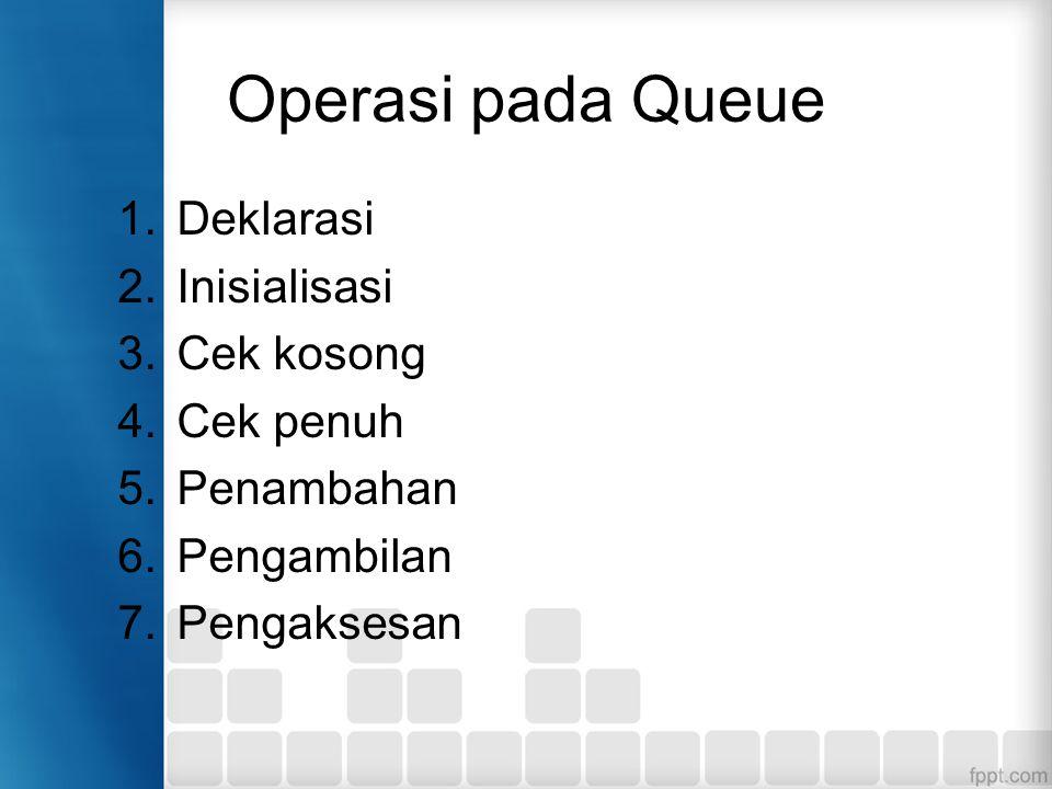 (5) Operasi POP...........(lanjutan) Langkah-langkah : 1.Pengecekan queue dalam kondisi kosong dengan memanggil method isEmpty().