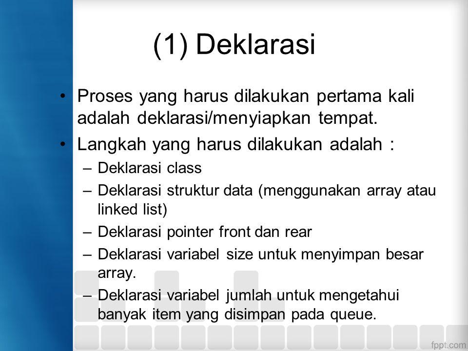 (1) Deklarasi Proses yang harus dilakukan pertama kali adalah deklarasi/menyiapkan tempat. Langkah yang harus dilakukan adalah : –Deklarasi class –Dek