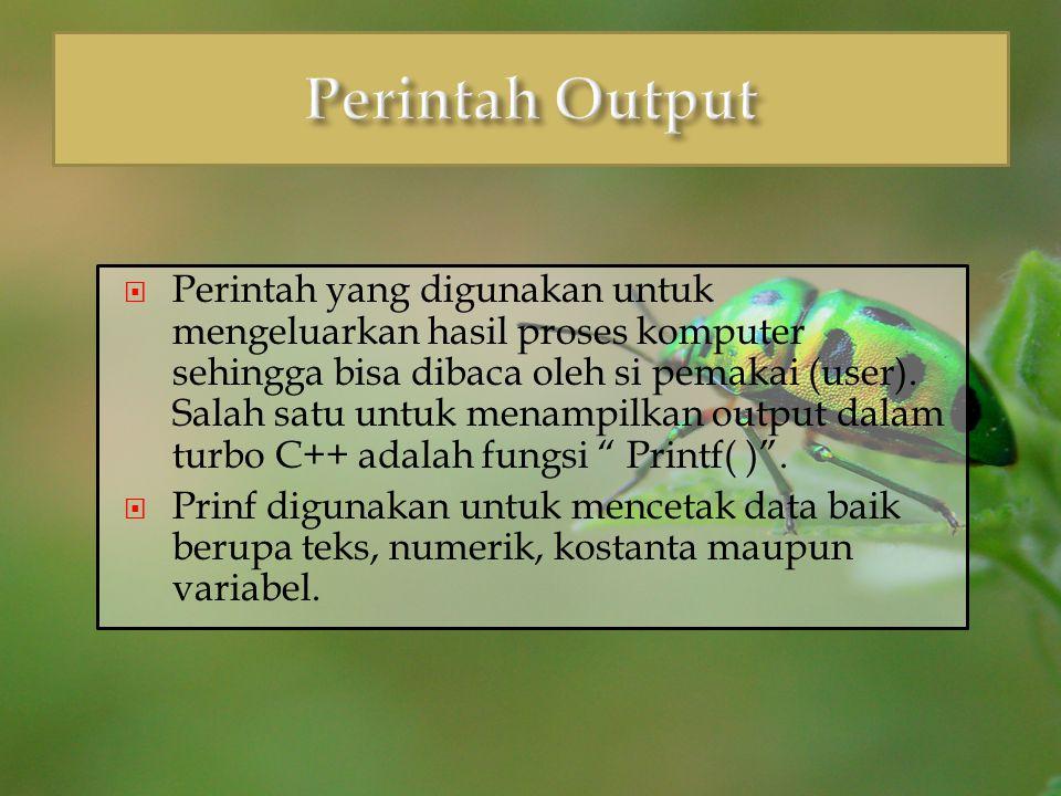 #include void main() { int jumlah ; float total_nilai, rata ; char nilai_huruf; char nama[20]; clrscr(); /* inisialisasi variabel*/ jumlah = 5; strcpy (nama, Aisya Aqilla Deska ); total_nilai=485.6; rata= total_nilai / jumlah ; nilai_huruf= A ; printf ( researchor:%s \n , nama); printf ( jumlah data yang ada:%d data.\n , jumlah); printf ( total nilai yang diperoleh:%5.2f \n , total_nilai); printf ( rata-rata nilainya:%7.1f \n , rata); printf ( nilai hurufnya:%c \n ,nilai_huruf); getch (); }