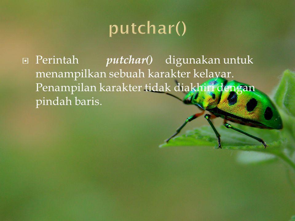  Perintah putchar() digunakan untuk menampilkan sebuah karakter kelayar. Penampilan karakter tidak diakhiri dengan pindah baris.