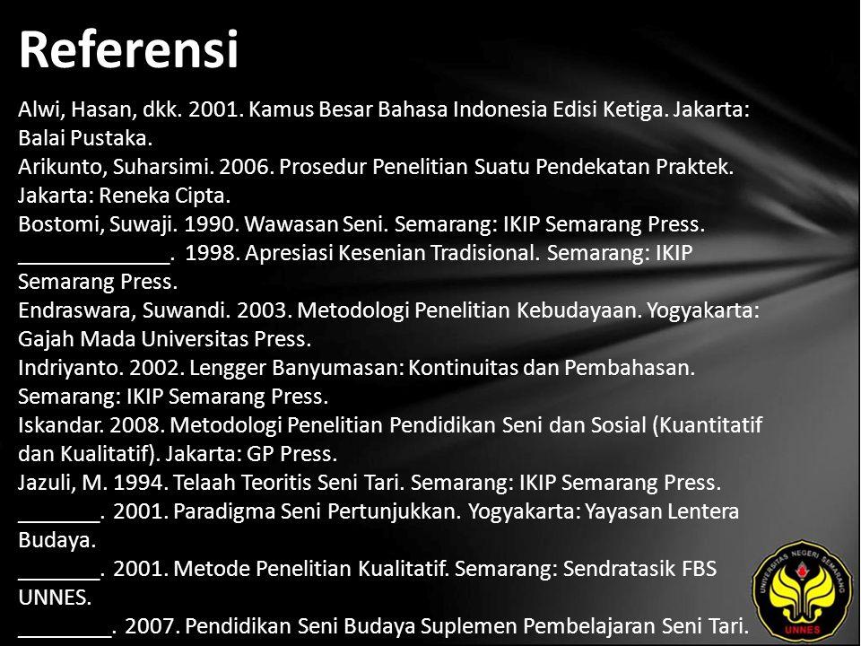 Referensi Alwi, Hasan, dkk. 2001. Kamus Besar Bahasa Indonesia Edisi Ketiga.