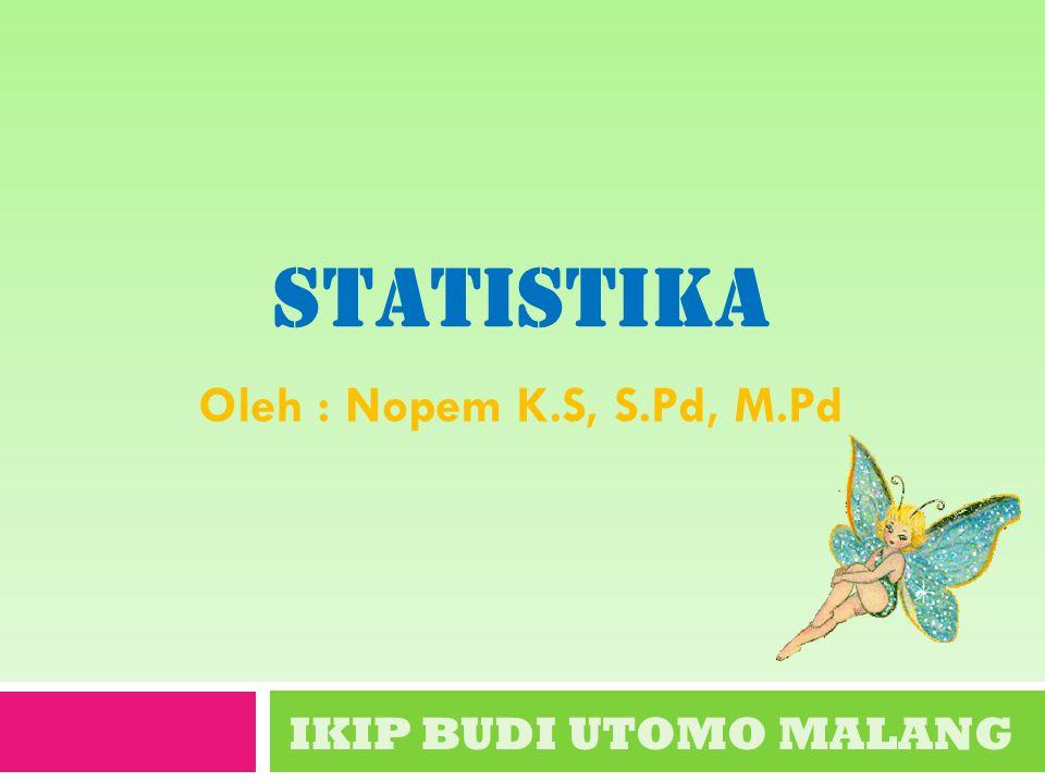STATISTIKA IKIP BUDI UTOMO MALANG Oleh : Nopem K.S, S.Pd, M.Pd