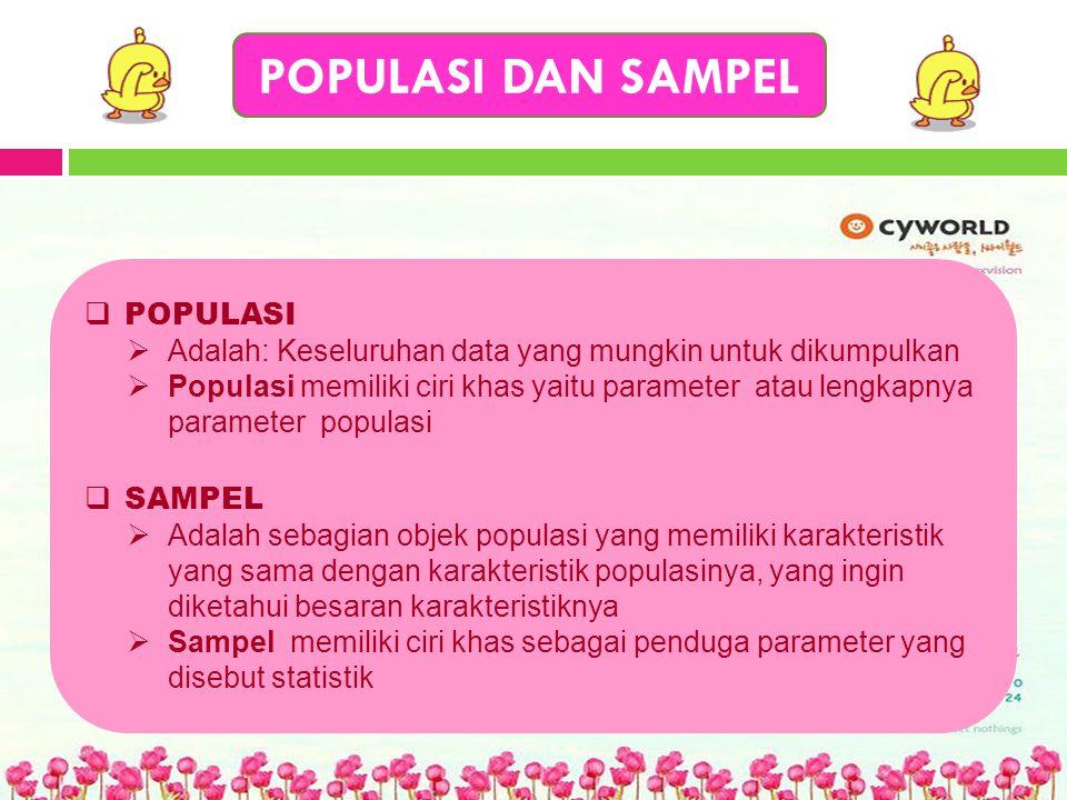POPULASI DAN SAMPEL  POPULASI  Adalah: Keseluruhan data yang mungkin untuk dikumpulkan  Populasi memiliki ciri khas yaitu parameter atau lengkapnya