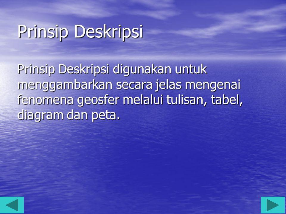 Prinsip Deskripsi Prinsip Deskripsi digunakan untuk menggambarkan secara jelas mengenai fenomena geosfer melalui tulisan, tabel, diagram dan peta.