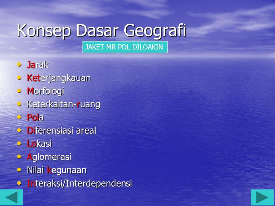 Konsep Dasar Geografi Jarak Jarak Keterjangkauan Keterjangkauan Morfologi Morfologi Keterkaitan-ruang Keterkaitan-ruang Pola Pola Diferensiasi areal D