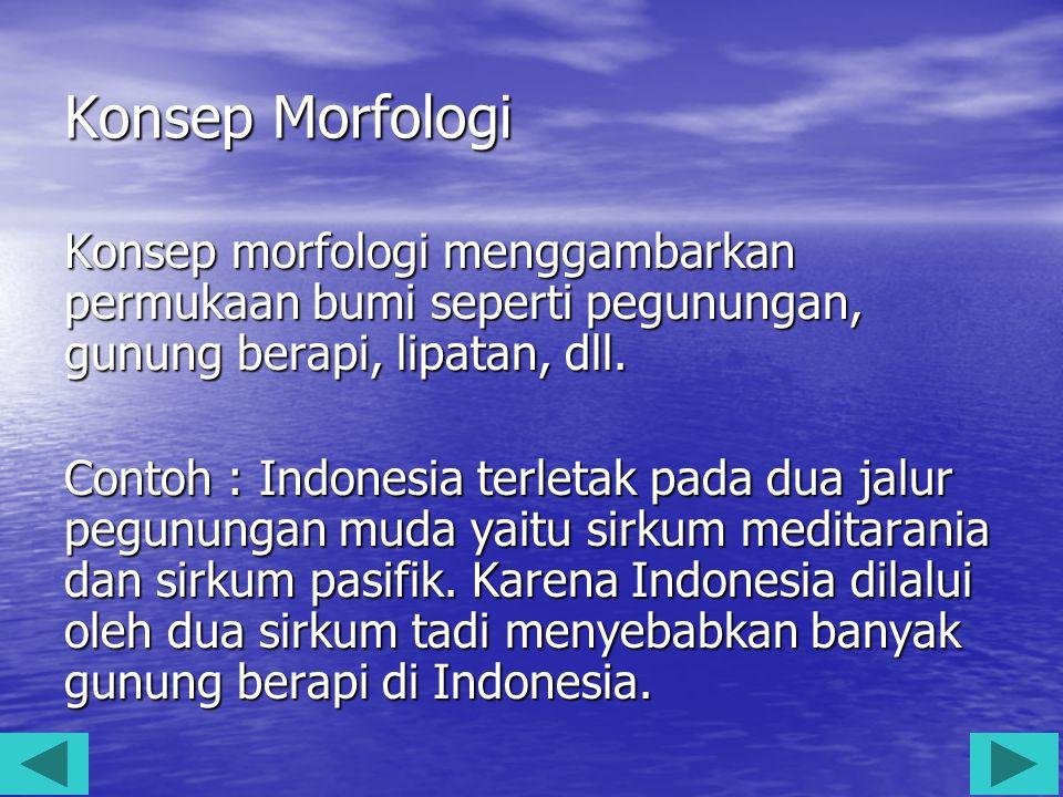 Konsep Morfologi Konsep morfologi menggambarkan permukaan bumi seperti pegunungan, gunung berapi, lipatan, dll. Contoh : Indonesia terletak pada dua j